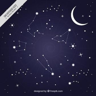 Sullo sfondo del cielo notturno con le costellazioni