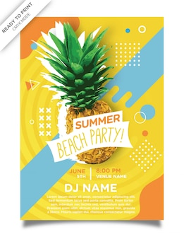 Summer aloha beach party poster modello design