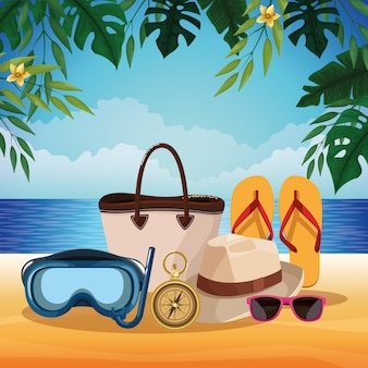 Summer beach and vacations cartoons