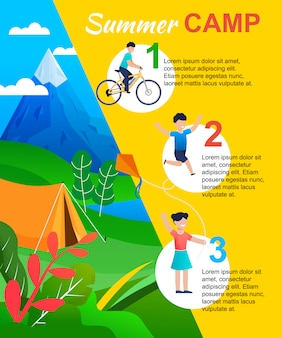 Summer camp infographic con actions list per kid.