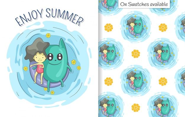 Summer card e seamless pattern con una mano disegnata di ragazza carina e la sua amica rilassante sul galleggiante