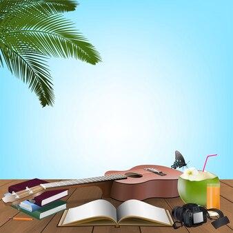 Summer day, holiday vacation sul balcone della spiaggia di fronte alla spiaggia