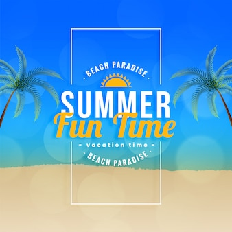 Summer fun time beach paradiso sullo sfondo
