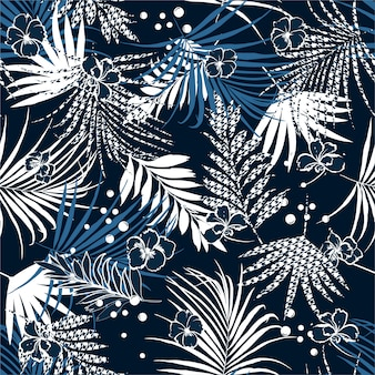 Summer night tropical seamless pattern
