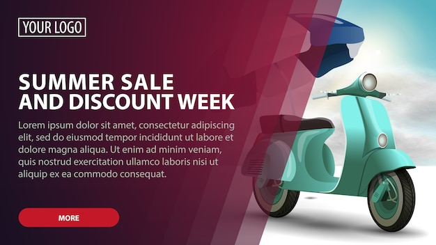 Summer sale and discount week, banner web creativo di sconto rosa per le tue arti