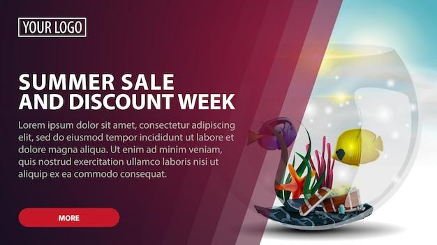 Summer sale and discount week, banner web creativo di sconto rosa per le tue arti