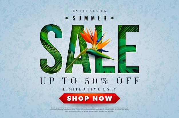 Summer sale design con pappagallo e foglie di palme tropicali