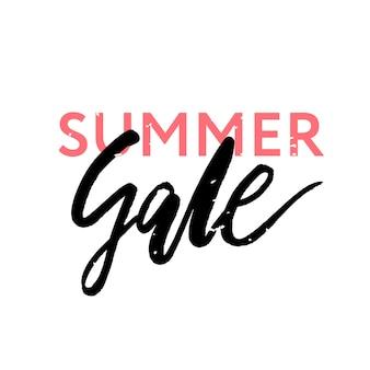 Summer sale lettering acquerello calligrafia testo pink negozio vendite, vacanze, poster