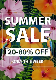 Summer sale tropical banner, flyer promozione stagionale