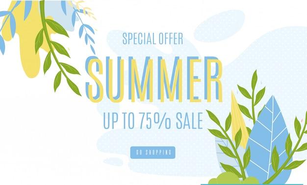 Summer sales banner pubblicitario fino al 75%.