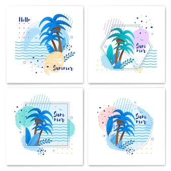 Summer set in tropical style con cartoon in cornice geometrica