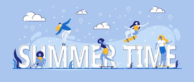 Summer time leisure skateboard girls fare acrobazie