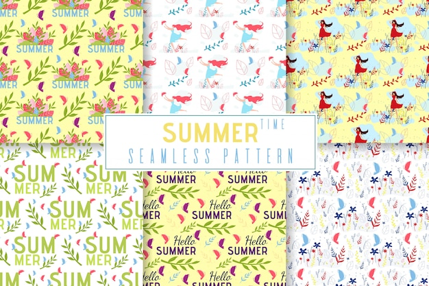 Summer time seamless pattern impostato in stile jungle floreale