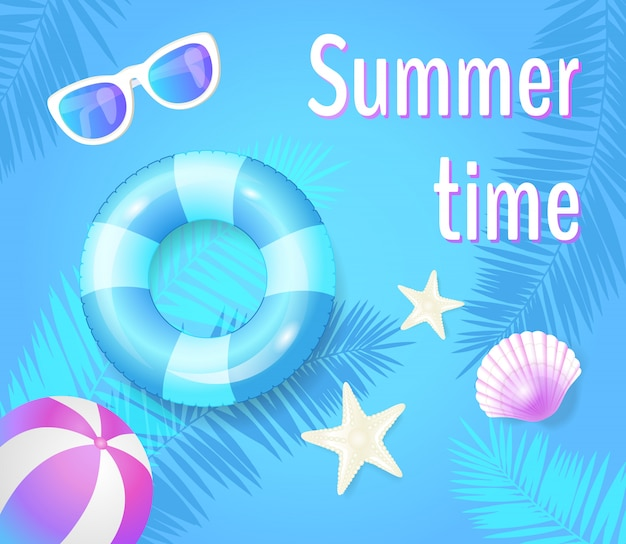 Summer time with items illustration
