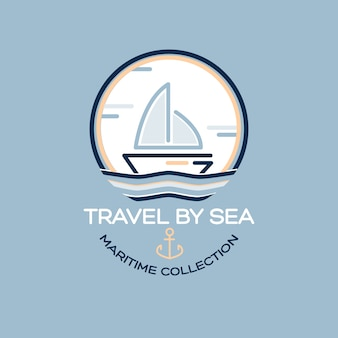 Summer travel design - sail boat. illustrazione di raccolta marittima