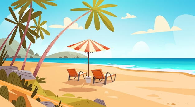 Summer vacation loungers on sea beach paesaggio beautiful seascape banner vacanze al mare