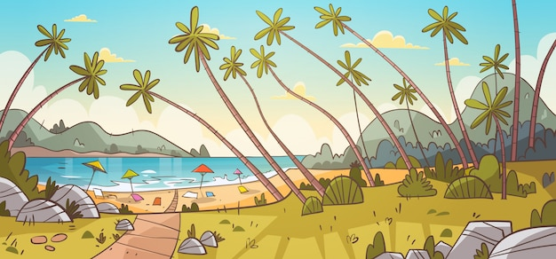 Summer vacation loungers on sea beach paesaggio beautiful seascape banner vacanze al mare