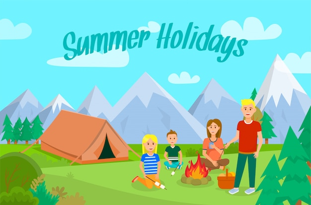 Summer vacation with family flat banner layout.