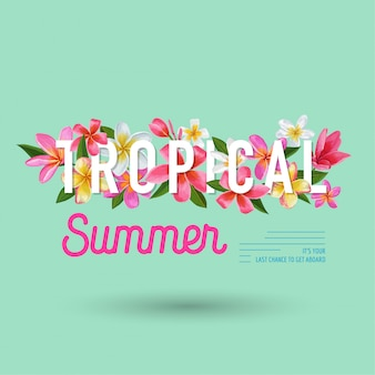 Summertime floral background design di fiori tropicali