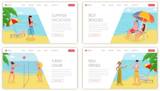 Summertime holiday resort landing page. attività e svago per le vacanze nelle isole tropicali