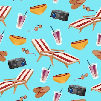 Summertime holidays seamless pattern con accessori di nuoto