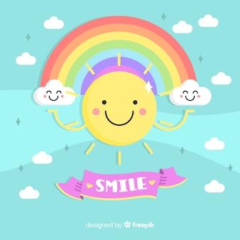 Sun sorridente sullo sfondo