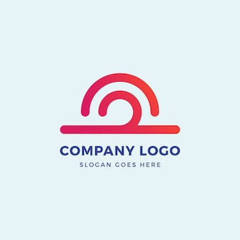 Sun wave logo design template