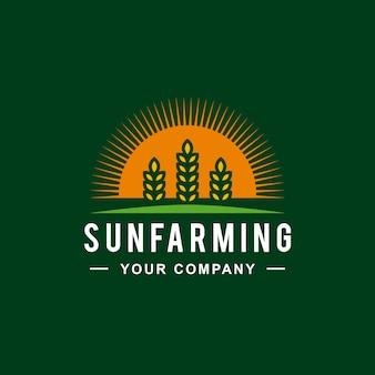 Sun wheat farm logo design