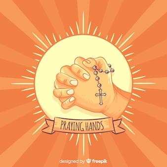 Sunburst che prega priorità bassa delle mani