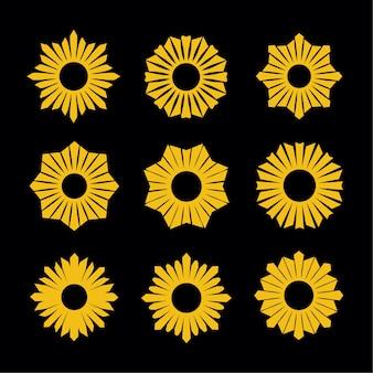 Sunburst flower design element set
