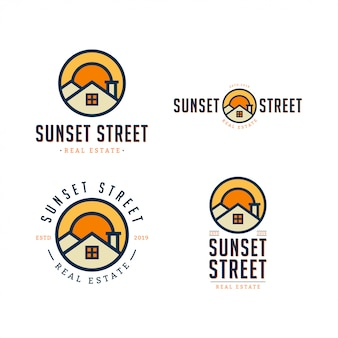 Sunset street real estate logo template