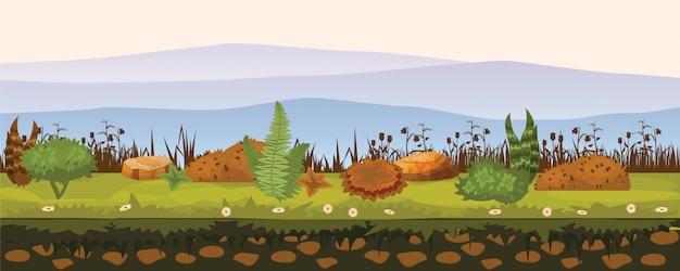 Suolo e terra con diversi tipi di vegetazione, erba, fogliame
