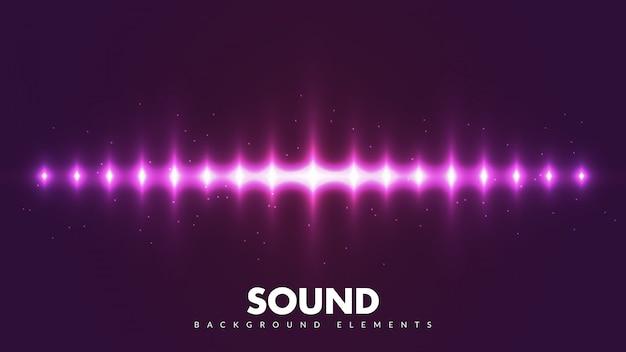 Suoni di spettro colorati. frequenza audio fredda con raggi di luce.