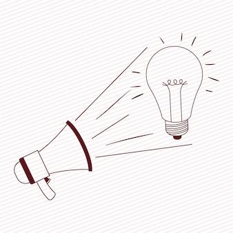 Suono del megafono con lampadina