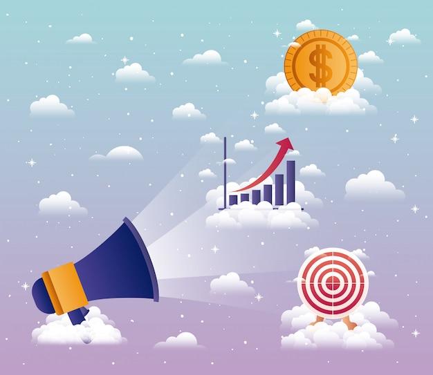 Suono del megafono con progettazione dell'illustrazione di vettore delle icone di affari