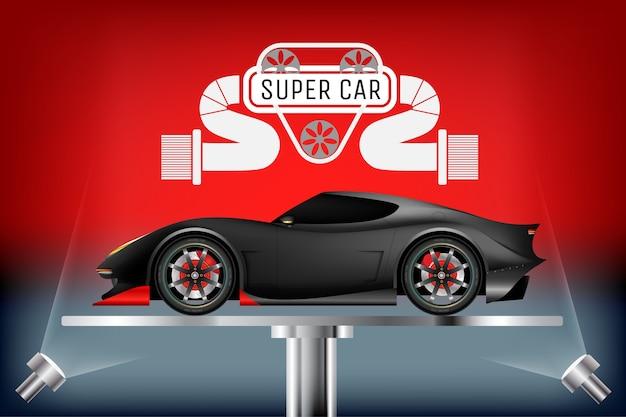 Super design realistico per auto su supporto metallico.