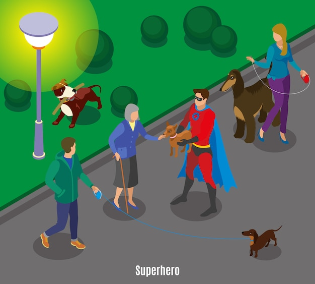 Super eroe tenendo l'animale della vecchia signora durante i cani a piedi in serata