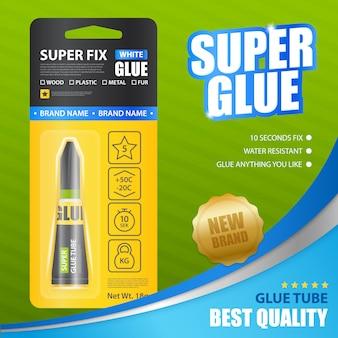 Super glue modello di annuncio realistico