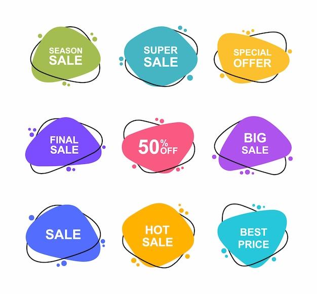 Super set banner disegnati a mano di forma diversa. i tag di vendita impostano i modelli di badge 0, 2, 0, 35, 5, 50, 0, 5, 5% di sconto. promozione sconto.