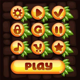 Super set di elementi vettoriali per giochi mobili con elementi gialli e composizione delle foglie verdi succose