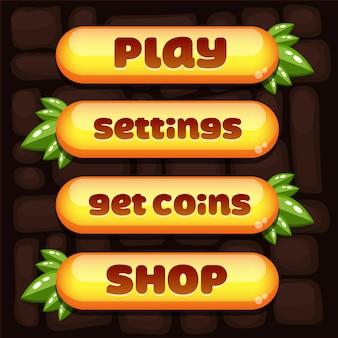 Super set di pulsanti vettoriali per il menu del gioco arcade mobile e casual per arrivare in cima.