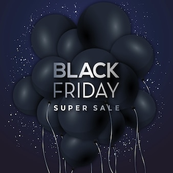 Super vendita di banner del black friday su palloncini neri