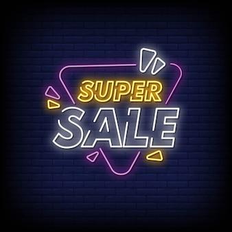 Super vendita di insegne al neon in stile testo