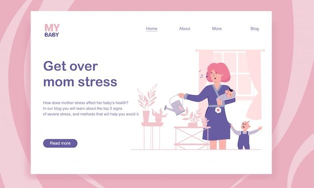 Superare lo stress della mamma e il modello della pagina di destinazione della depressione postpartum