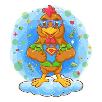 Supereroe del gallo che mostra il vestito dell'eroe eccellente sotto la sua camicia