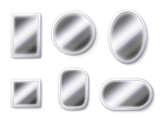 Superfici di specchi realistici. cornice dello specchio, superficie riflettente e illustrazione del vetro specchiante