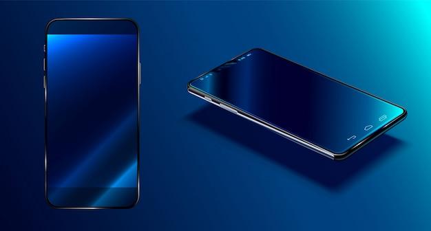 Superficie blu scuro dello smartphone moderno nella vista di prospettiva con la riflessione, telefono realistico 3d