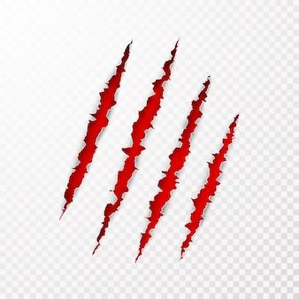 Superficie di carta leceration spaventosa. gli artigli di animali selvatici graffiano la trama con sfondo rosso. bordo della carta strappata. illustrazione