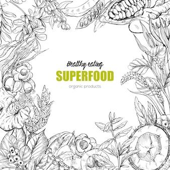 Superfood, design realistico della cornice di schizzo