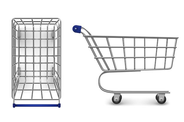 Superiore del carrello della spesa e vista laterale, carrello del supermercato vuoto isolato